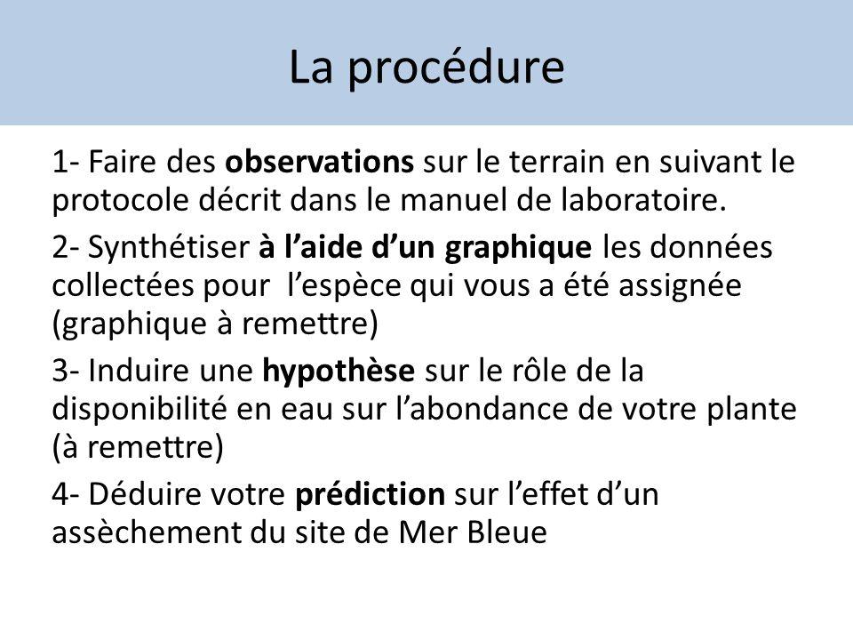 La procédure 1- Faire des observations sur le terrain en suivant le protocole décrit dans le manuel de laboratoire. 2- Synthétiser à laide dun graphiq