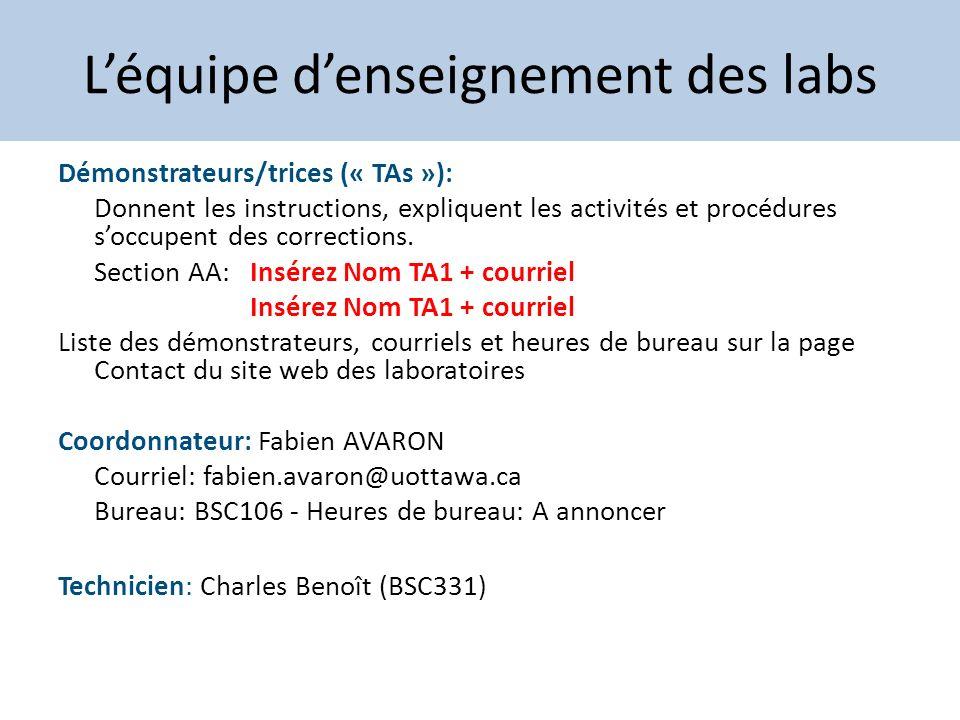 Léquipe denseignement des labs Démonstrateurs/trices (« TAs »): Donnent les instructions, expliquent les activités et procédures soccupent des correct