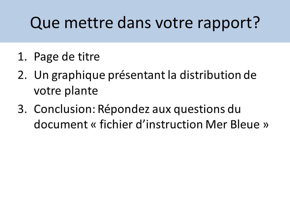 Que mettre dans votre rapport? 1.Page de titre 2.Un graphique présentant la distribution de votre plante 3.Conclusion: Répondez aux questions du docum
