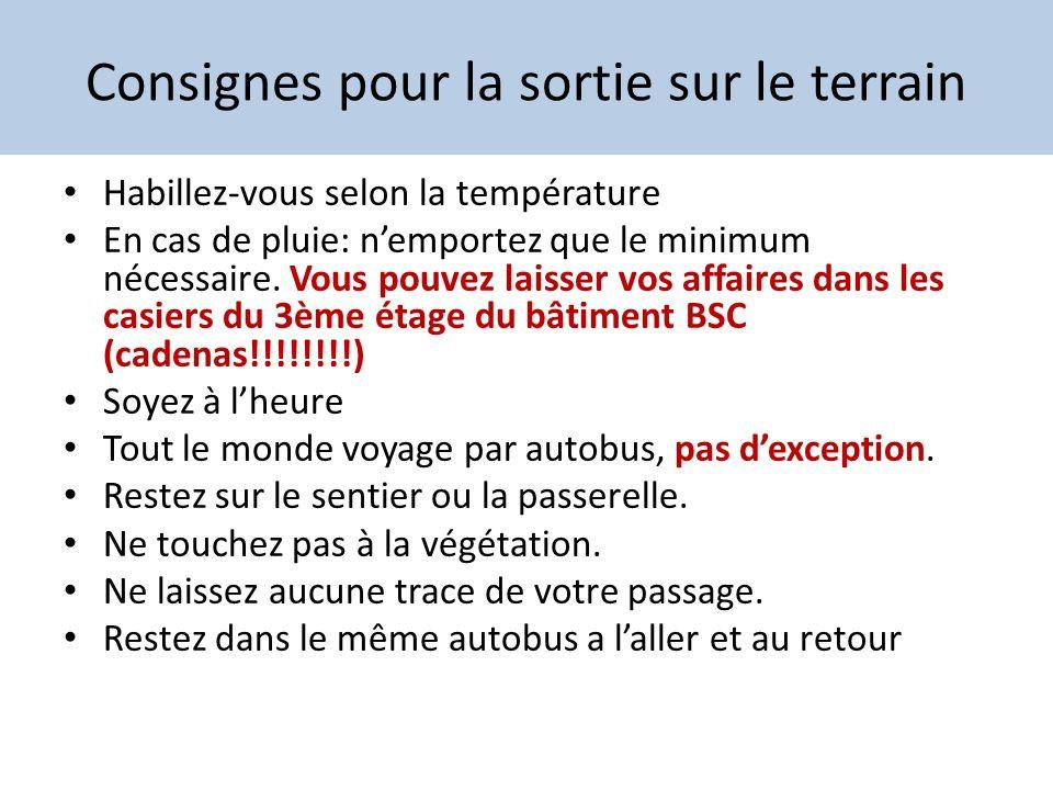 Consignes pour la sortie sur le terrain Habillez-vous selon la température En cas de pluie: nemportez que le minimum nécessaire. Vous pouvez laisser v