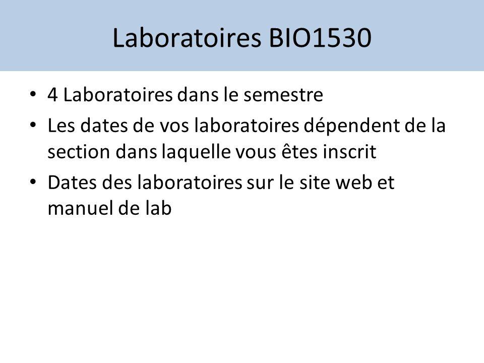 Laboratoires BIO1530 Évaluation: Composante pratique vaut 20% du cours BIO1530 Chaque laboratoire vaut 25% de la composante Évaluation: rapports et quiz Pas de note de passage / éliminatoire