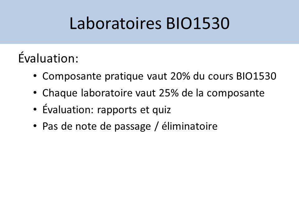 Laboratoires BIO1530 Évaluation: Composante pratique vaut 20% du cours BIO1530 Chaque laboratoire vaut 25% de la composante Évaluation: rapports et qu