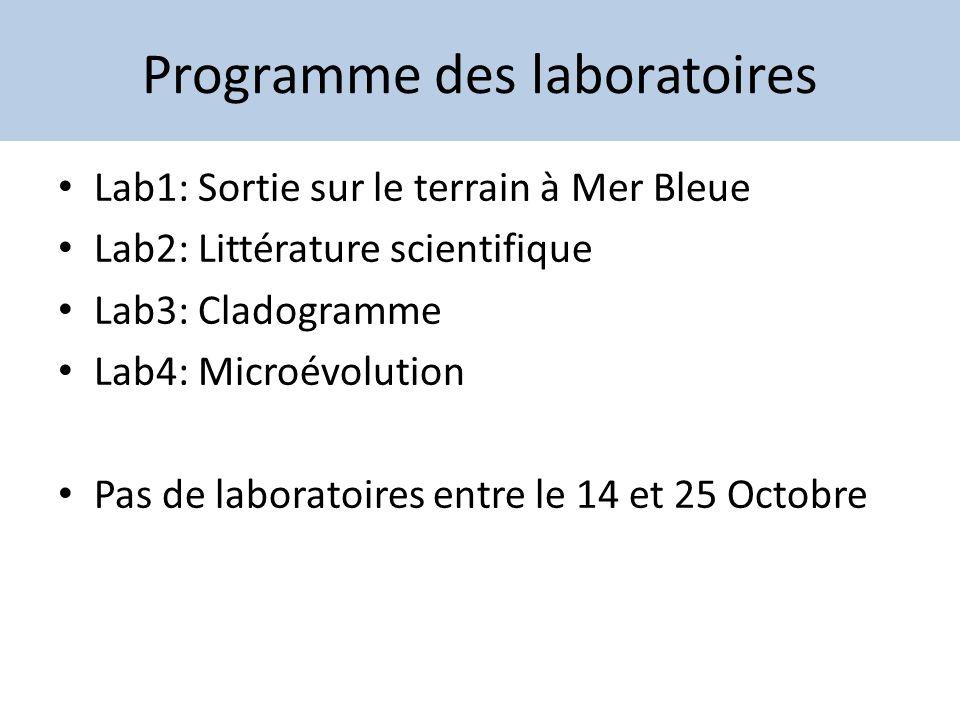 Programme des laboratoires Lab1: Sortie sur le terrain à Mer Bleue Lab2: Littérature scientifique Lab3: Cladogramme Lab4: Microévolution Pas de labora