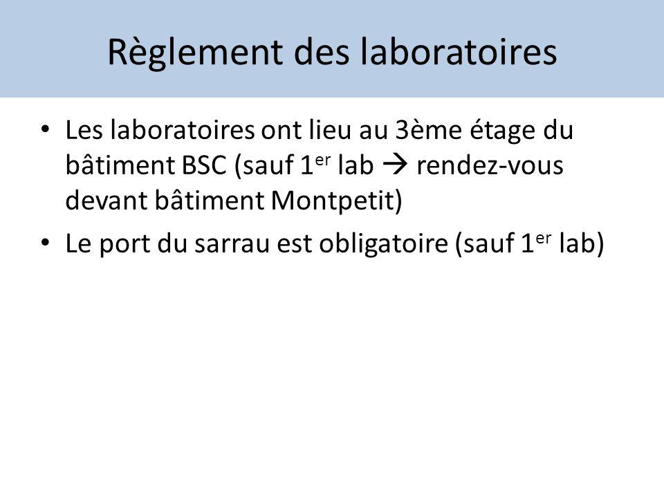 Règlement des laboratoires Les laboratoires ont lieu au 3ème étage du bâtiment BSC (sauf 1 er lab rendez-vous devant bâtiment Montpetit) Le port du sa