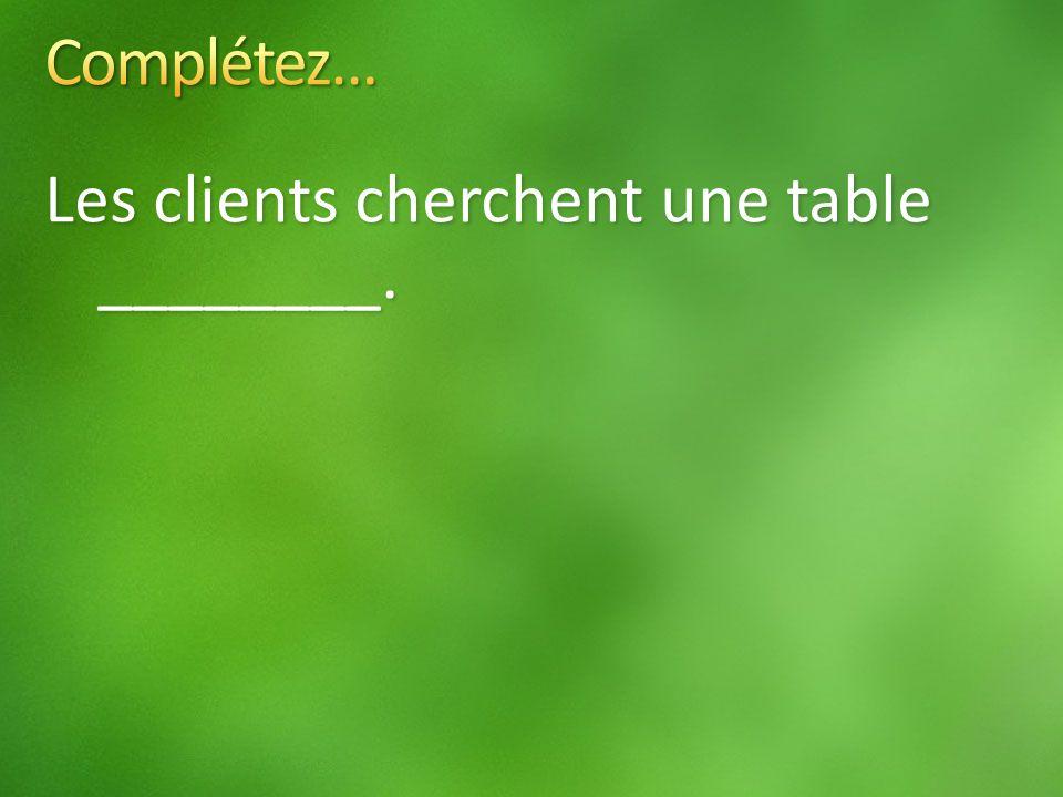 Les clients cherchent une table ________.