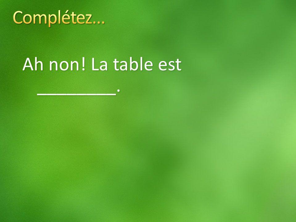 Ah non! La table est ________.