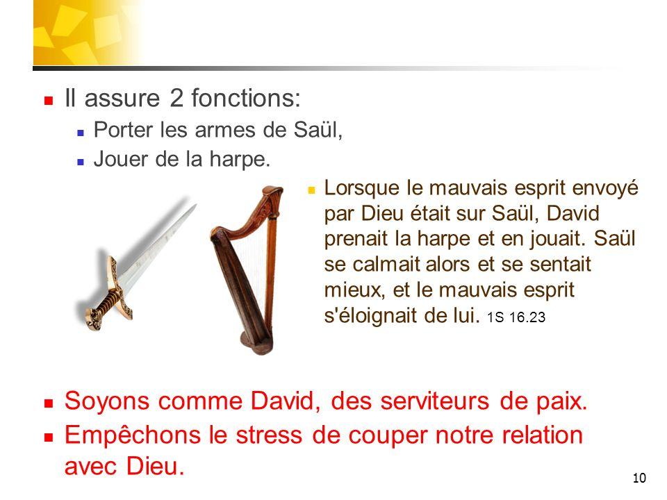 Il assure 2 fonctions: Porter les armes de Saül, Jouer de la harpe.