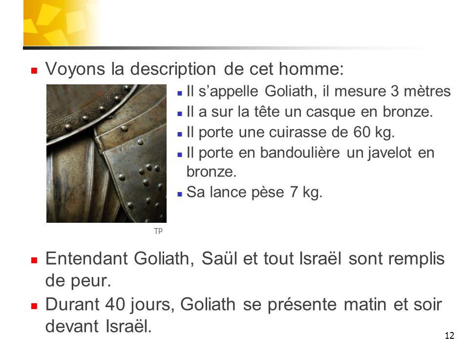 Voyons la description de cet homme: Il sappelle Goliath, il mesure 3 mètres Il a sur la tête un casque en bronze. Il porte une cuirasse de 60 kg. Il p
