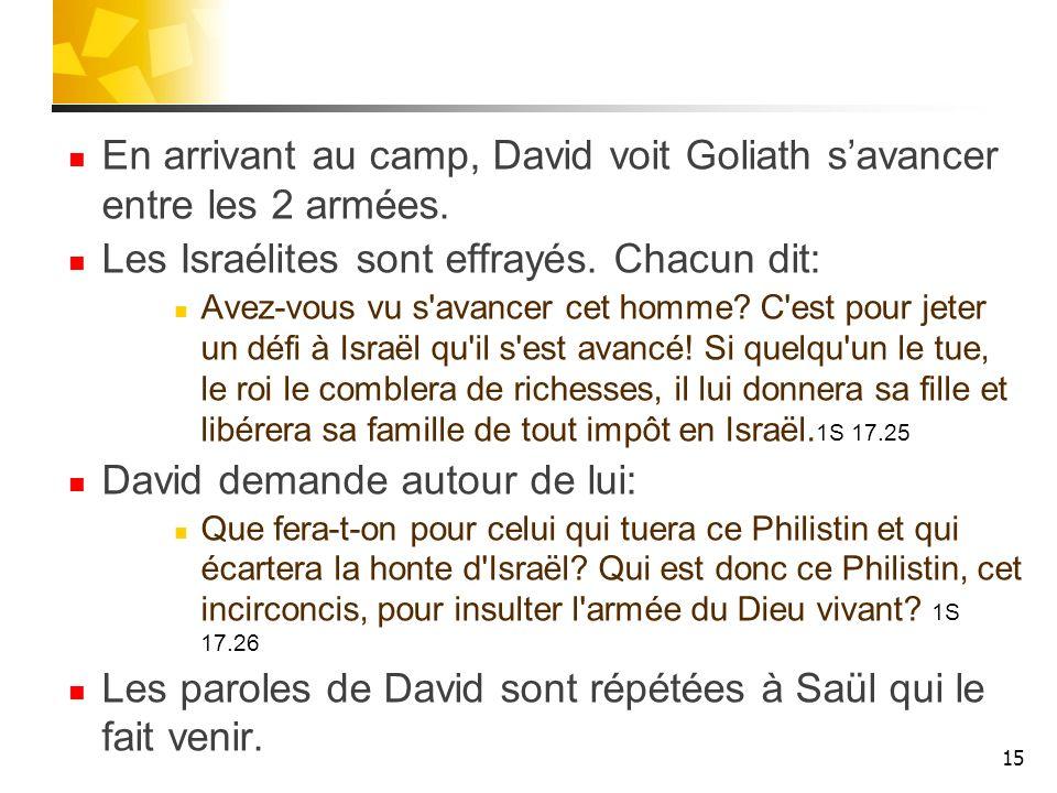 En arrivant au camp, David voit Goliath savancer entre les 2 armées. Les Israélites sont effrayés. Chacun dit: Avez-vous vu s'avancer cet homme? C'est