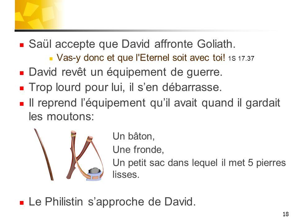 Saül accepte que David affronte Goliath. Vas-y donc et que l'Eternel soit avec toi! 1S 17.37 David revêt un équipement de guerre. Trop lourd pour lui,