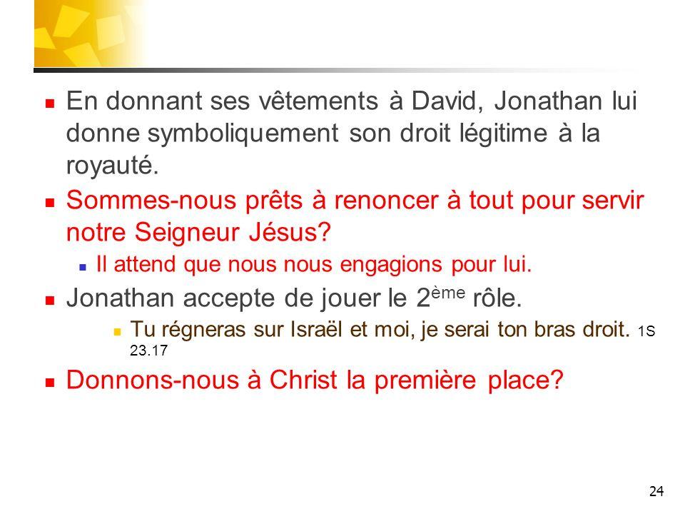 En donnant ses vêtements à David, Jonathan lui donne symboliquement son droit légitime à la royauté. Sommes-nous prêts à renoncer à tout pour servir n