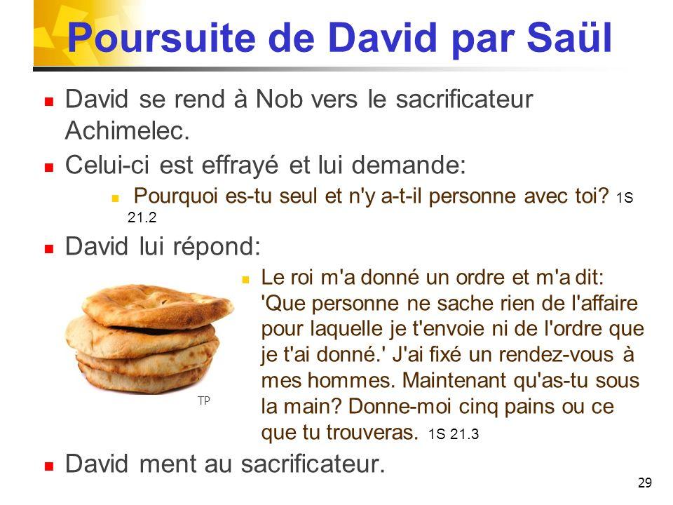 Poursuite de David par Saül David se rend à Nob vers le sacrificateur Achimelec. Celui-ci est effrayé et lui demande: Pourquoi es-tu seul et n'y a-t-i