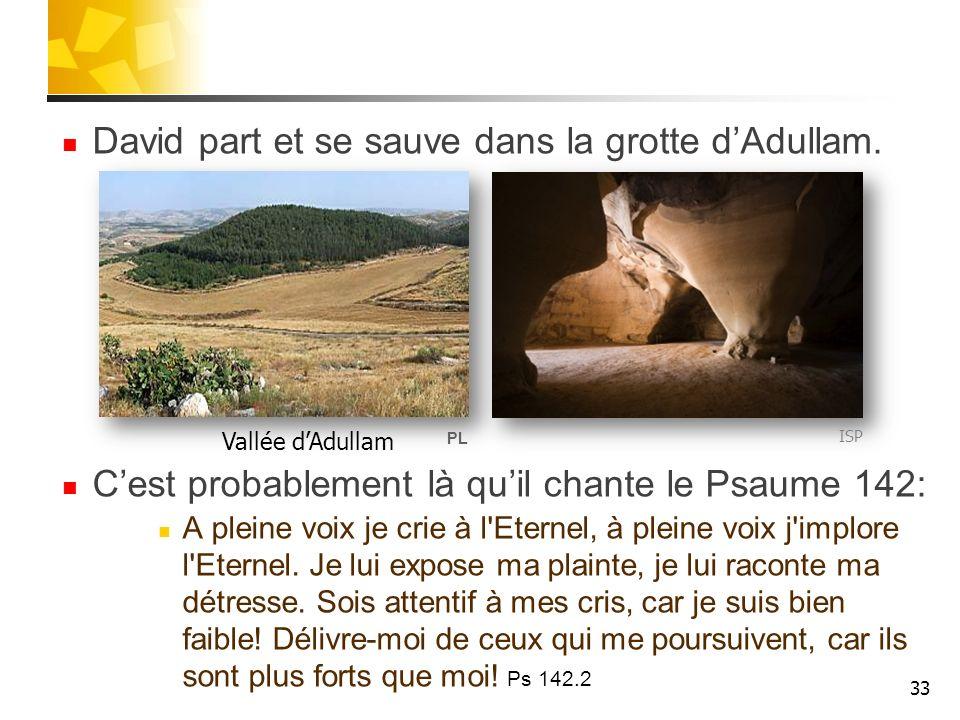 David part et se sauve dans la grotte dAdullam. Cest probablement là quil chante le Psaume 142: A pleine voix je crie à l'Eternel, à pleine voix j'imp