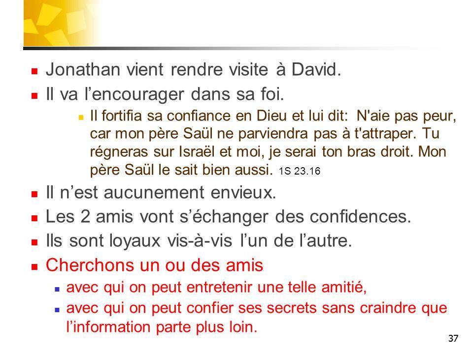 Jonathan vient rendre visite à David. Il va lencourager dans sa foi. Il fortifia sa confiance en Dieu et lui dit: N'aie pas peur, car mon père Saül ne