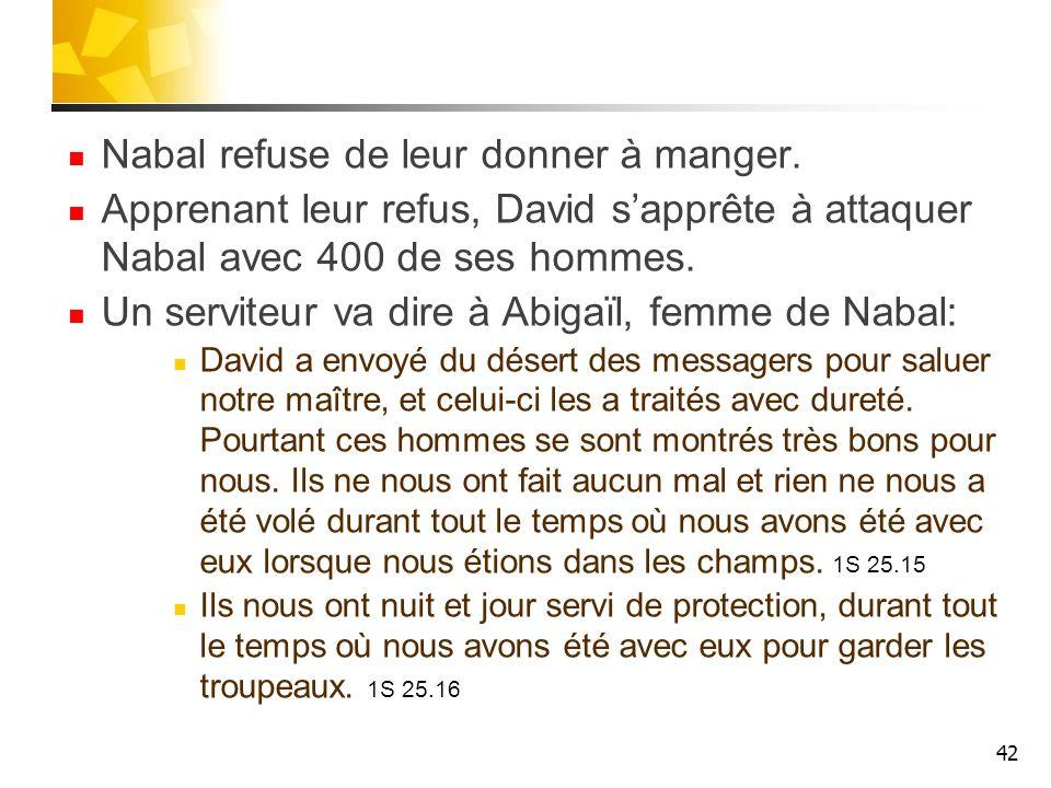 Nabal refuse de leur donner à manger. Apprenant leur refus, David sapprête à attaquer Nabal avec 400 de ses hommes. Un serviteur va dire à Abigaïl, fe