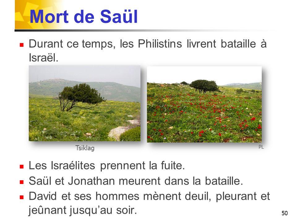 Mort de Saül Durant ce temps, les Philistins livrent bataille à Israël.