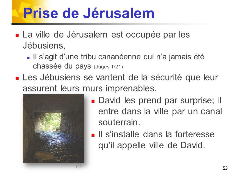 Prise de Jérusalem La ville de Jérusalem est occupée par les Jébusiens, Il sagit dune tribu cananéenne qui na jamais été chassée du pays (Juges 1/21) Les Jébusiens se vantent de la sécurité que leur assurent leurs murs imprenables.