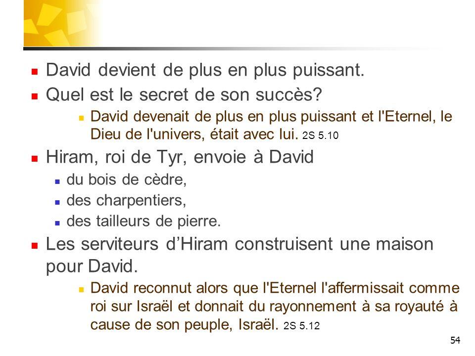 David devient de plus en plus puissant. Quel est le secret de son succès? David devenait de plus en plus puissant et l'Eternel, le Dieu de l'univers,