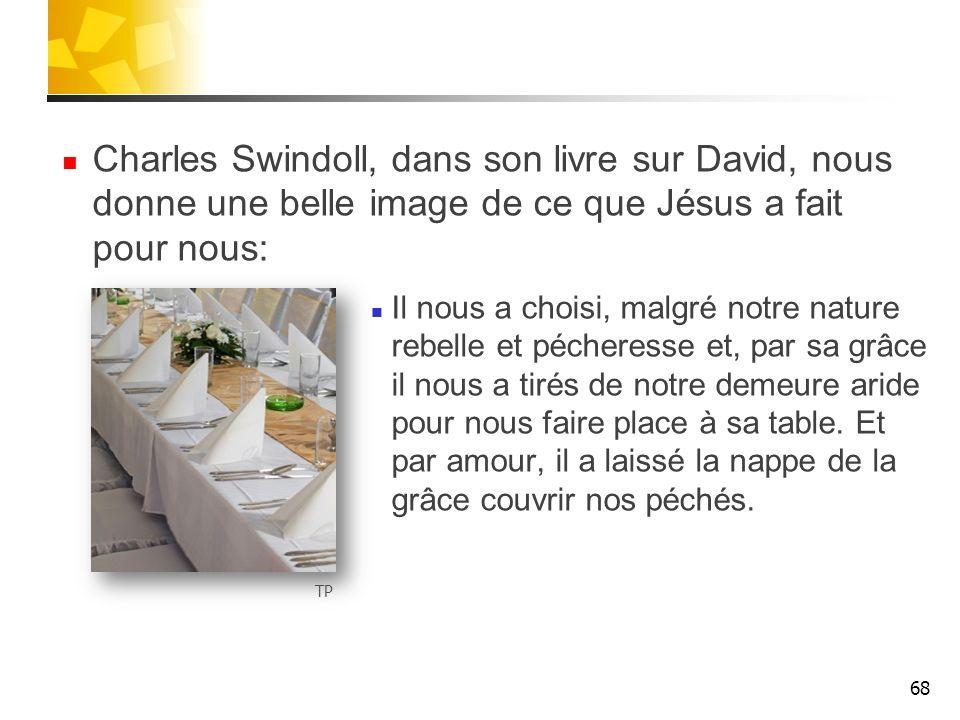 Charles Swindoll, dans son livre sur David, nous donne une belle image de ce que Jésus a fait pour nous: Il nous a choisi, malgré notre nature rebelle