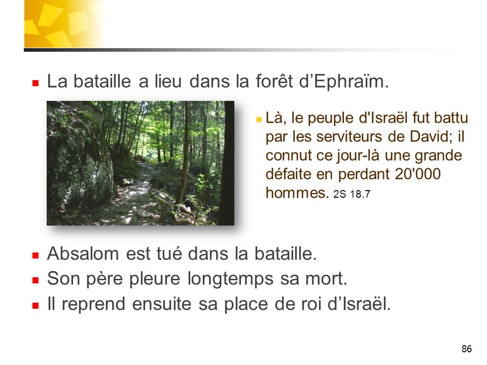 La bataille a lieu dans la forêt dEphraïm. Là, le peuple d'Israël fut battu par les serviteurs de David; il connut ce jour-là une grande défaite en pe
