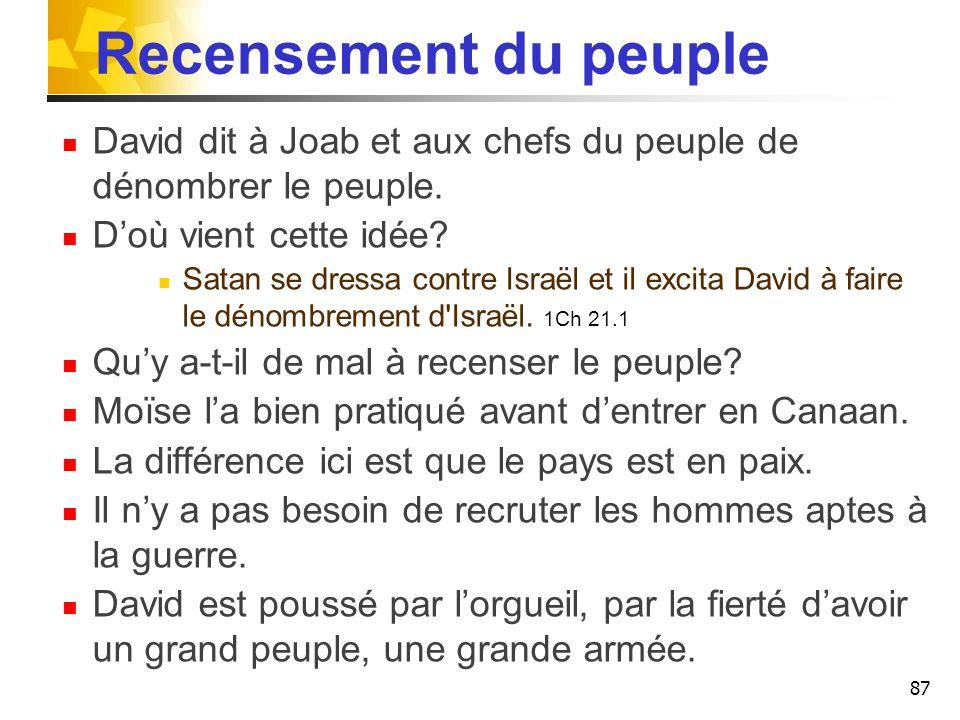 Recensement du peuple David dit à Joab et aux chefs du peuple de dénombrer le peuple. Doù vient cette idée? Satan se dressa contre Israël et il excita