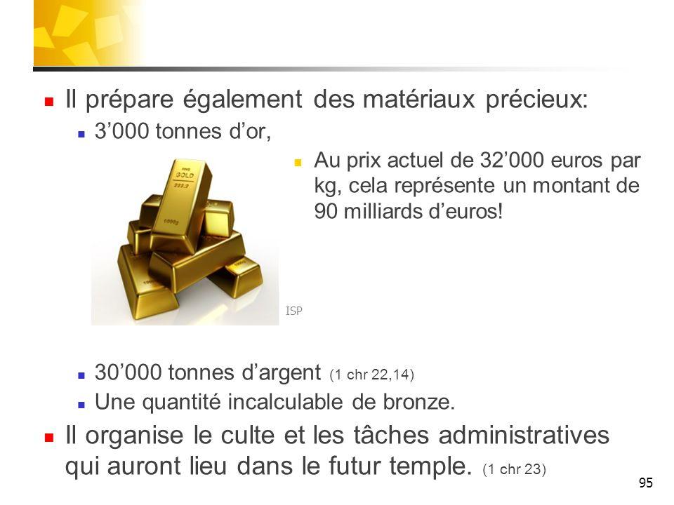 Il prépare également des matériaux précieux: 3000 tonnes dor, Au prix actuel de 32000 euros par kg, cela représente un montant de 90 milliards deuros.