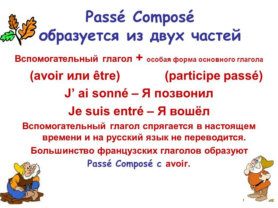 Passé Composé образуется из двух частей Вспомогательный глагол + особая форма основного глагола (avoir или être) (participe passé) J ai sonné – Я позв