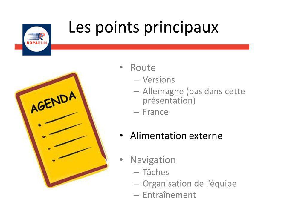 Les points principaux Route – Versions – Allemagne (pas dans cette présentation) – France Alimentation externe Navigation – Tâches – Organisation de l