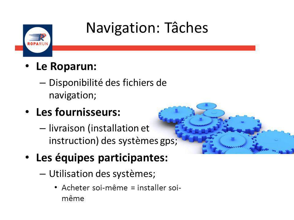 Le Roparun: – Disponibilité des fichiers de navigation; Les fournisseurs: – livraison (installation et instruction) des systèmes gps; Les équipes participantes: – Utilisation des systèmes; Acheter soi-même = installer soi- même Navigation: Tâches
