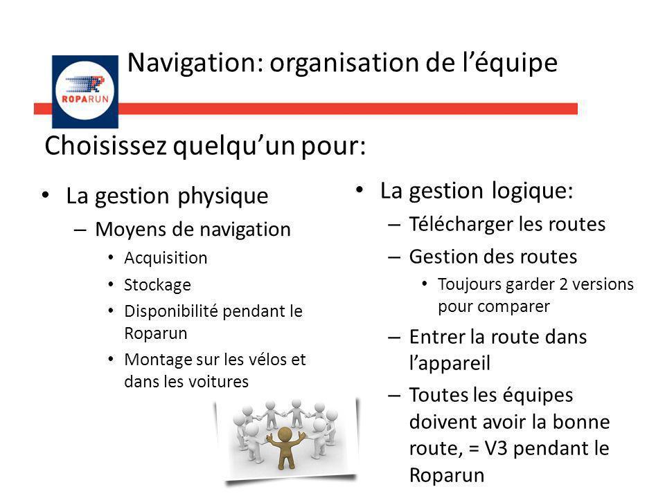 Navigation: organisation de léquipe La gestion logique: – Télécharger les routes – Gestion des routes Toujours garder 2 versions pour comparer – Entre
