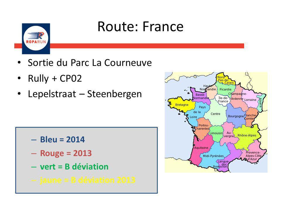 Sortie du Parc La Courneuve Rully + CP02 Lepelstraat – Steenbergen – Bleu = 2014 – Rouge = 2013 – vert = B déviation – jaune = B déviation 2013 Route: