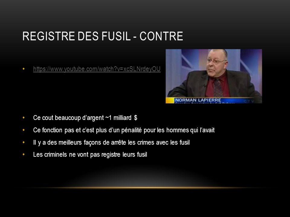 REGISTRE DES FUSIL - CONTRE https://www.youtube.com/watch?v=xcSLNrdeyOU Ce cout beaucoup dargent ~1 milliard $ Ce fonction pas et cest plus dun pénali