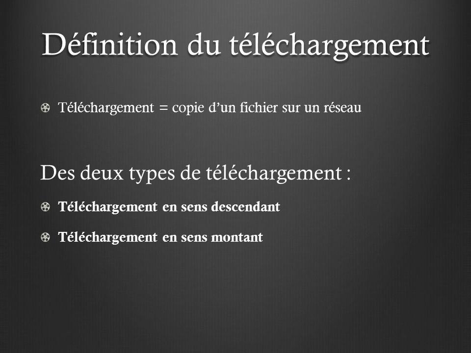 Définition du téléchargement Téléchargement = copie dun fichier sur un réseau Des deux types de téléchargement : Téléchargement en sens descendant Téléchargement en sens montant