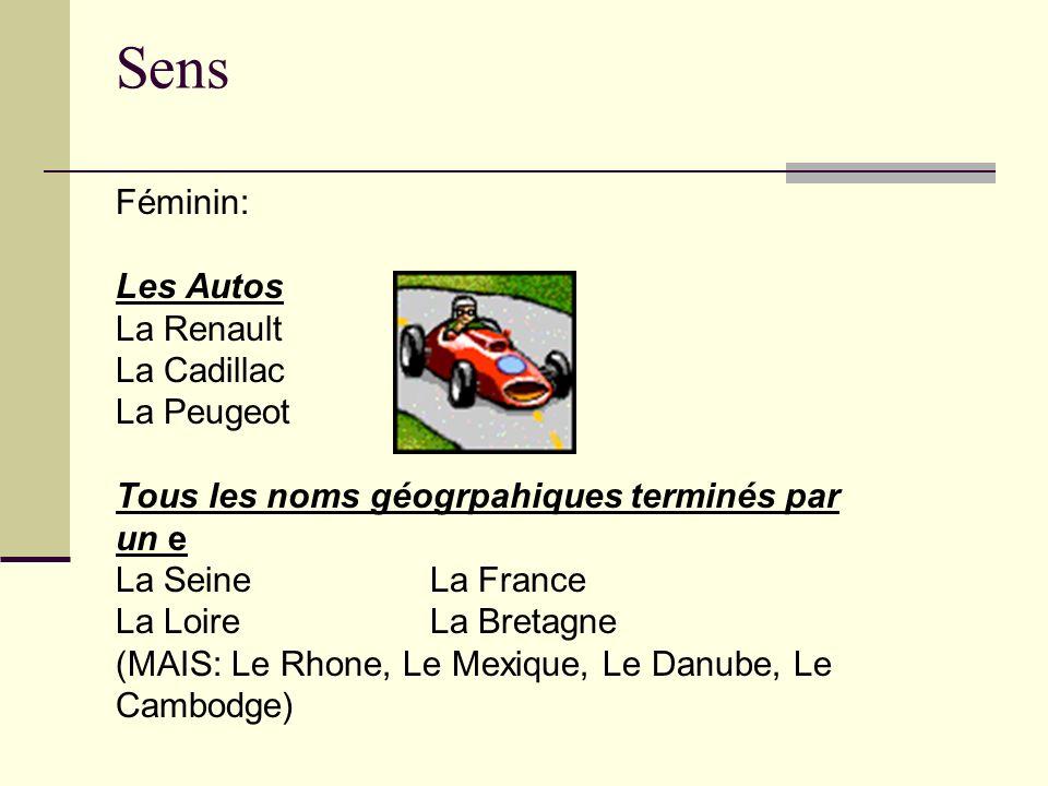 Sens Féminin: Les Autos La Renault La Cadillac La Peugeot Tous les noms géogrpahiques terminés par un e La Seine La France La LoireLa Bretagne (MAIS: