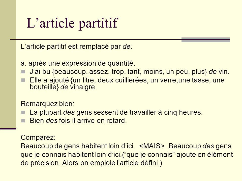 Larticle partitif Larticle partitif est remplacé par de: a. après une expression de quantité. Jai bu {beaucoup, assez, trop, tant, moins, un peu, plus