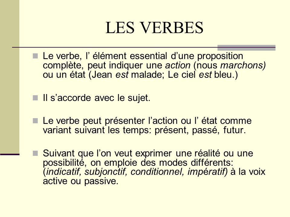 LES VERBES Le verbe, l élément essential dune proposition complète, peut indiquer une action (nous marchons) ou un état (Jean est malade; Le ciel est