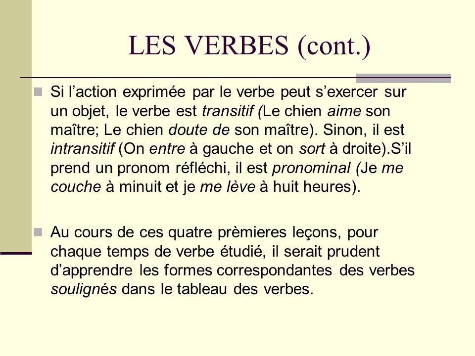 LES VERBES (cont.) Si laction exprimée par le verbe peut sexercer sur un objet, le verbe est transitif (Le chien aime son maître; Le chien doute de so