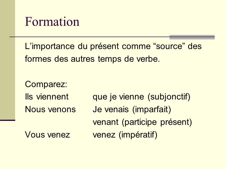 Formation Limportance du présent comme source des formes des autres temps de verbe. Comparez: Ils viennentque je vienne (subjonctif) Nous venonsJe ven