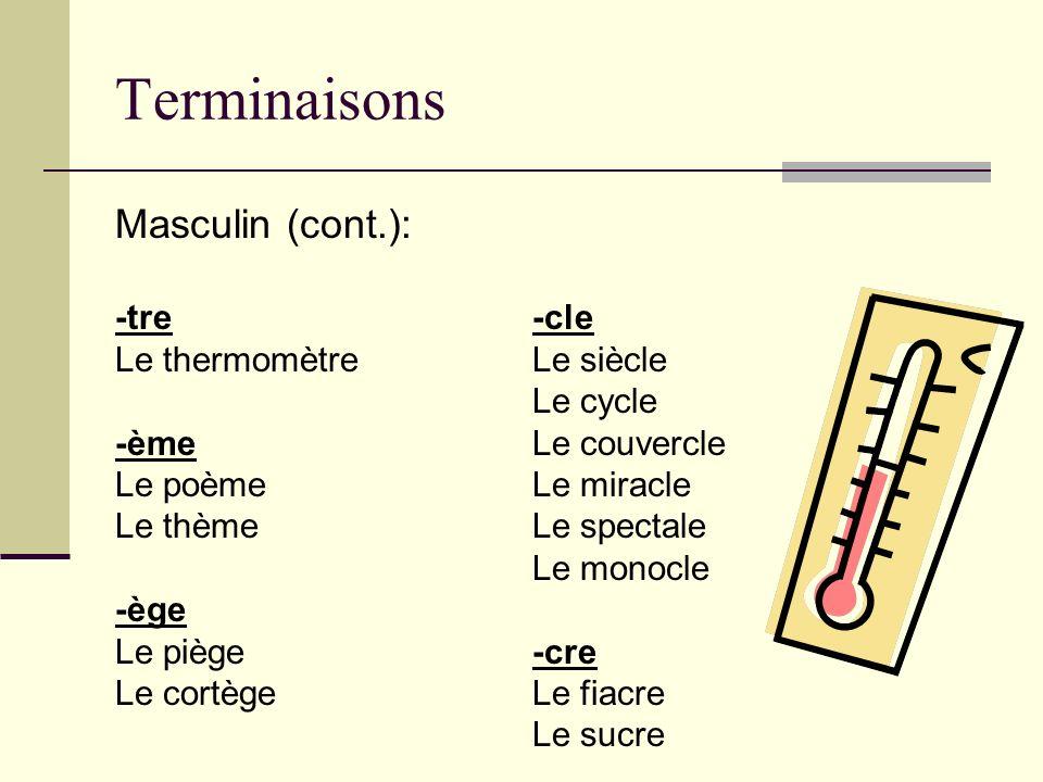 Terminaisons Masculin (cont.): -tre-cle Le thermomètreLe siècle Le cycle -èmeLe couvercle Le poèmeLe miracle Le thèmeLe spectale Le monocle -ège Le pi