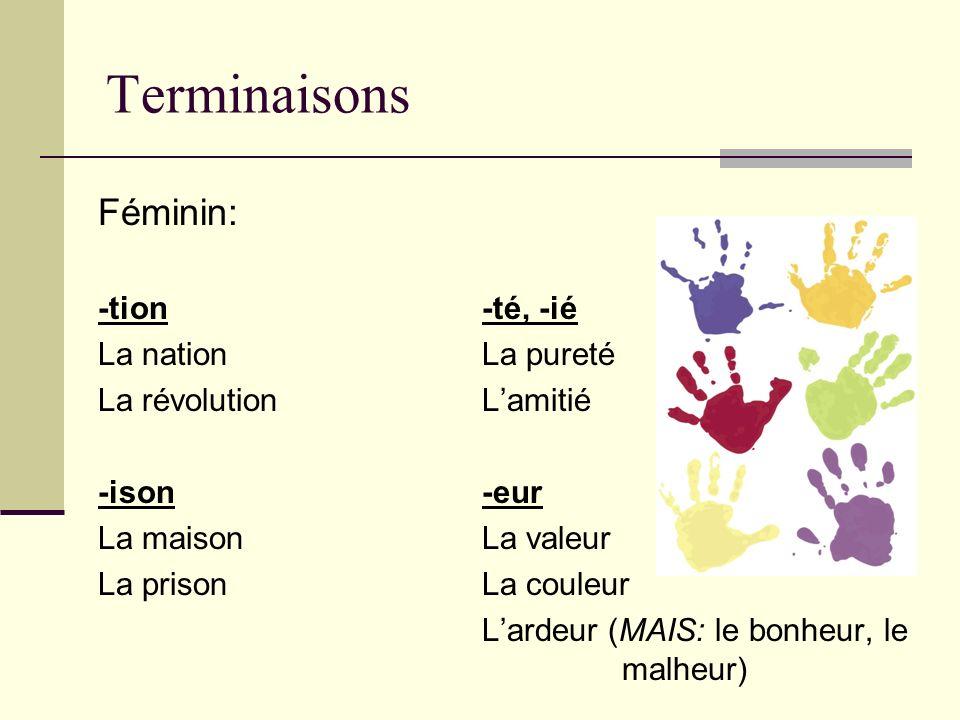 Terminaisons Féminin: -tion-té, -ié La nationLa pureté La révolutionLamitié -ison-eur La maisonLa valeur La prisonLa couleur Lardeur (MAIS: le bonheur