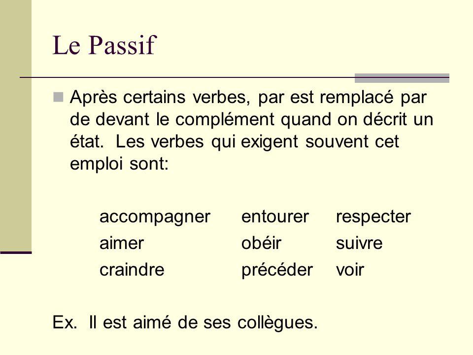 Le Passif Après certains verbes, par est remplacé par de devant le complément quand on décrit un état. Les verbes qui exigent souvent cet emploi sont: