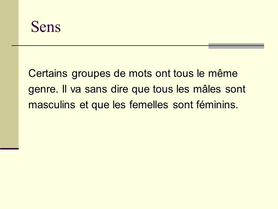 Sens Certains groupes de mots ont tous le même genre. Il va sans dire que tous les mâles sont masculins et que les femelles sont féminins.