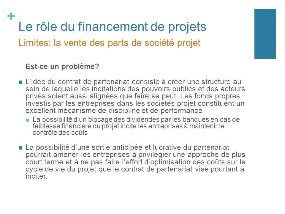 + Le rôle du financement de projets Est-ce un problème? Lidée du contrat de partenariat consiste à créer une structure au sein de laquelle les incitat