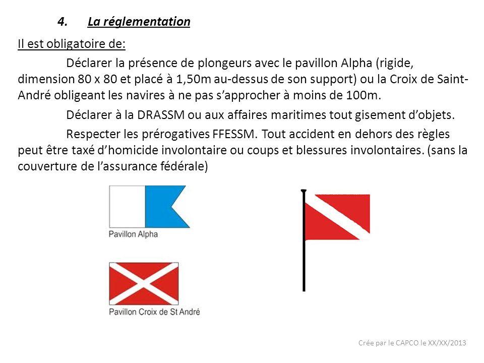 Crée par le CAPCO le XX/XX/2013 Il est obligatoire de: Déclarer la présence de plongeurs avec le pavillon Alpha (rigide, dimension 80 x 80 et placé à