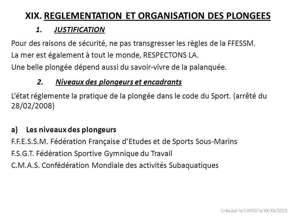 XIX.REGLEMENTATION ET ORGANISATION DES PLONGEES Pour des raisons de sécurité, ne pas transgresser les règles de la FFESSM. La mer est également à tout