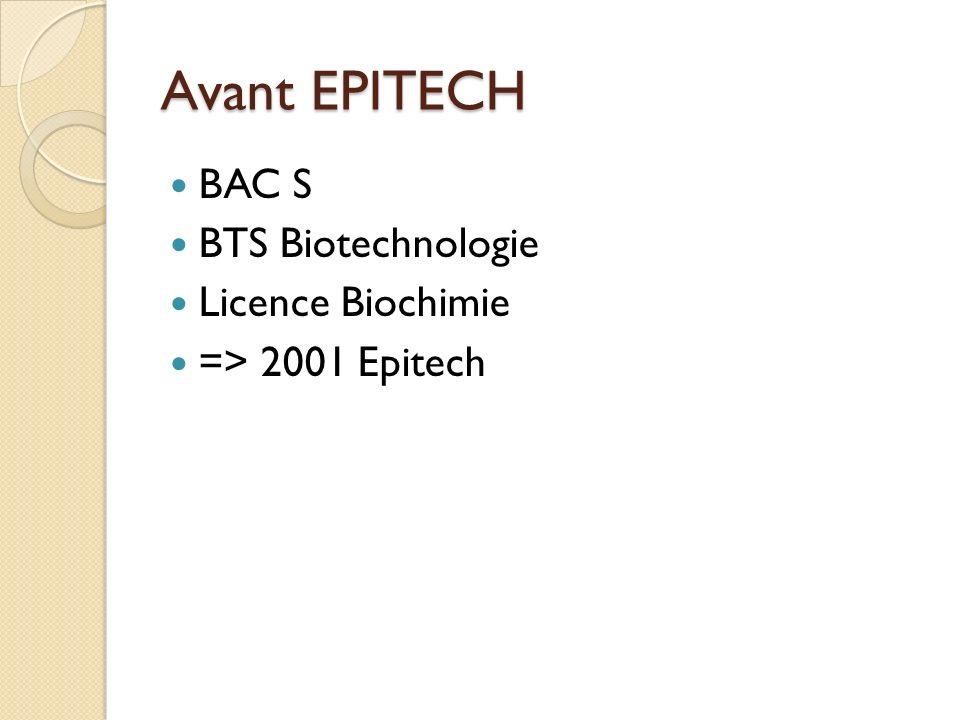 Avant EPITECH BAC S BTS Biotechnologie Licence Biochimie => 2001 Epitech