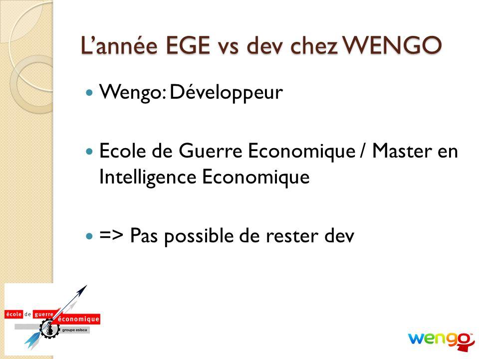 Lannée EGE vs dev chez WENGO Wengo: Développeur Ecole de Guerre Economique / Master en Intelligence Economique => Pas possible de rester dev