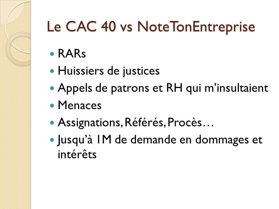 Le CAC 40 vs NoteTonEntreprise RARs Huissiers de justices Appels de patrons et RH qui minsultaient Menaces Assignations, Référés, Procès… Jusquà 1M de