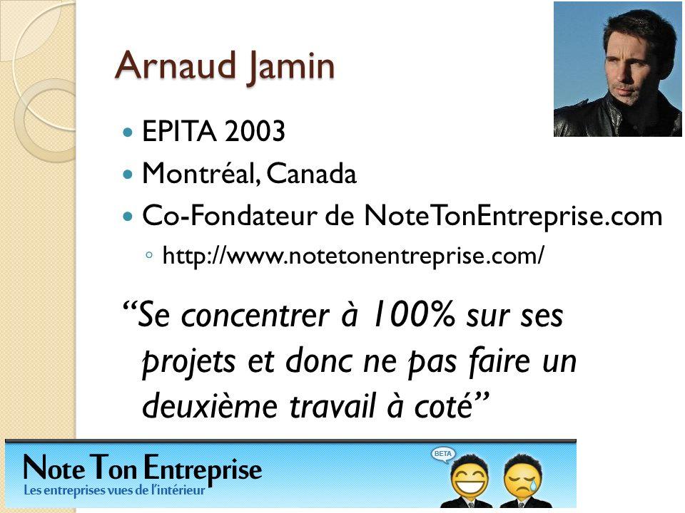 Arnaud Jamin EPITA 2003 Montréal, Canada Co-Fondateur de NoteTonEntreprise.com http://www.notetonentreprise.com/ Se concentrer à 100% sur ses projets