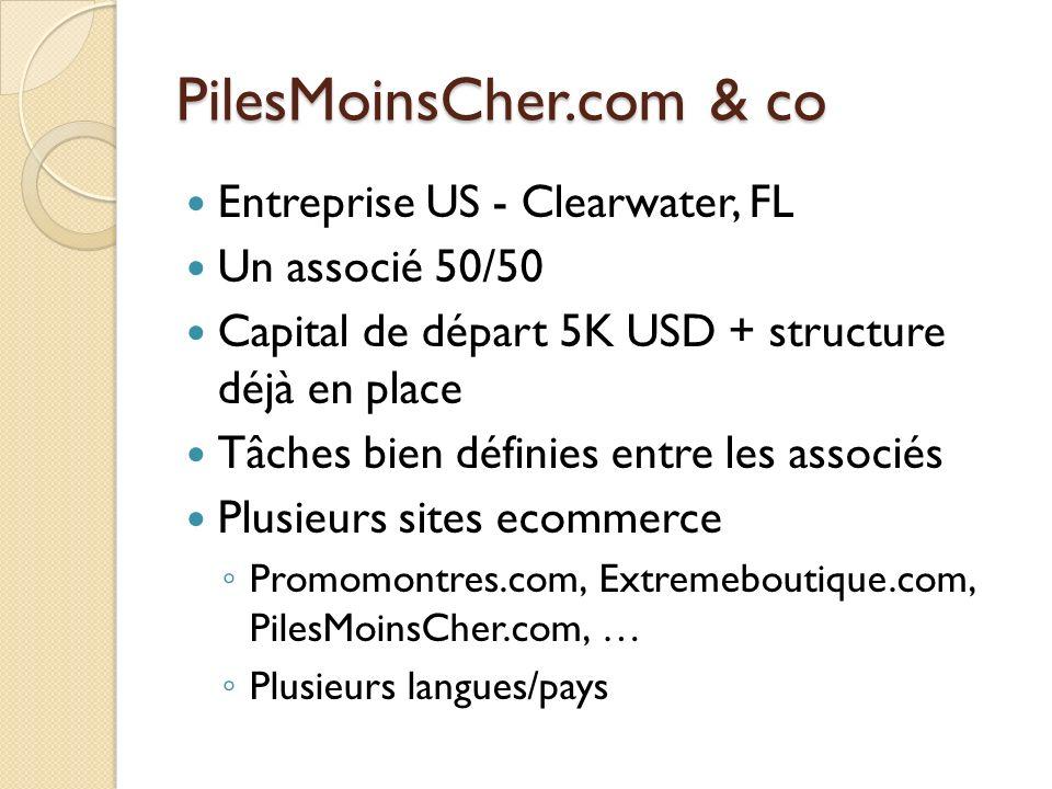 PilesMoinsCher.com & co Entreprise US - Clearwater, FL Un associé 50/50 Capital de départ 5K USD + structure déjà en place Tâches bien définies entre